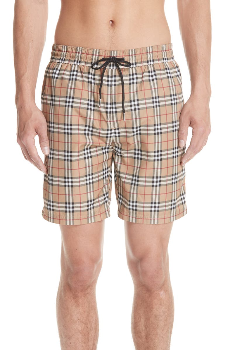 BURBERRY Guildes New Check Swim Trunks, Main, color, CAMEL