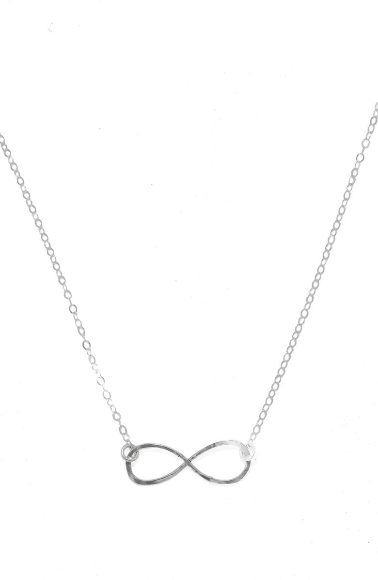 TERESSA LANE JEWELRY Hammered Infinity Necklace, Main, color, SILVER