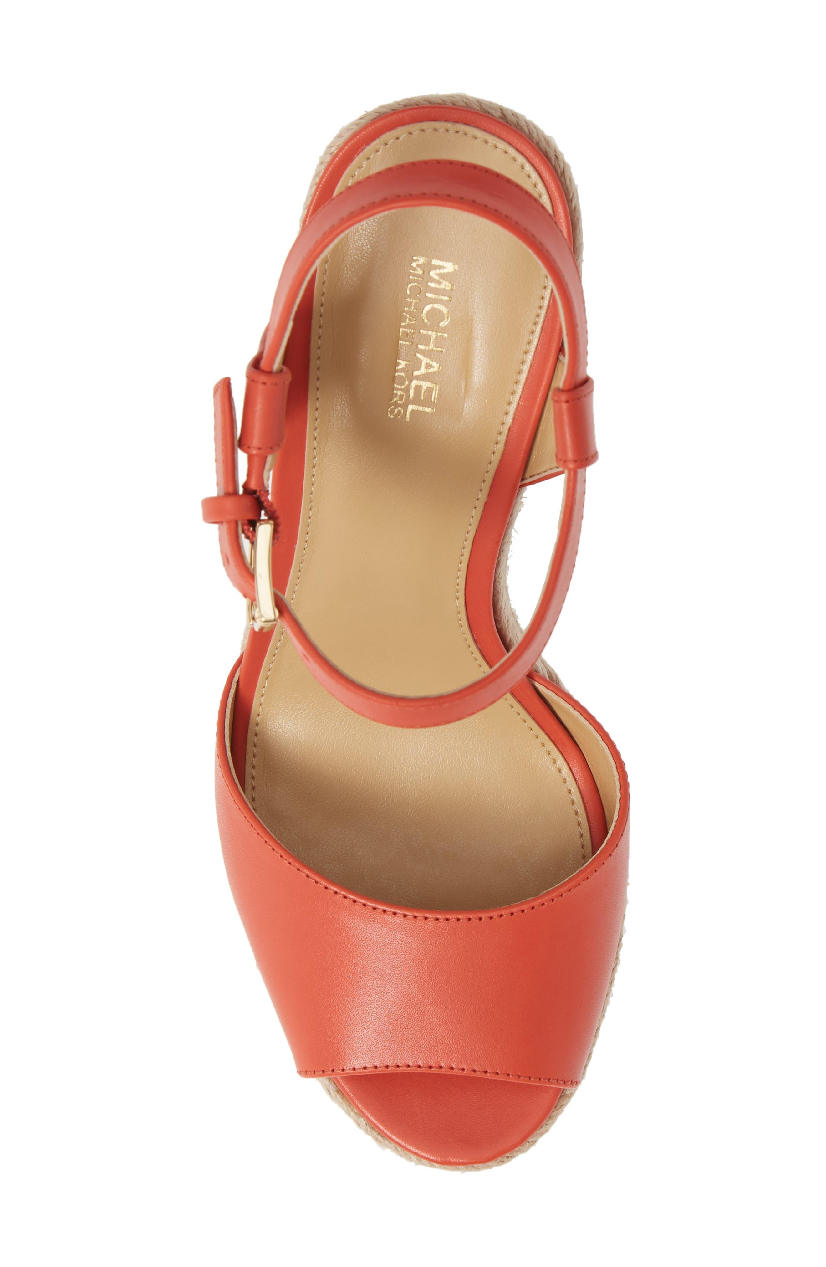 ,                             Carlyn Espadrille Wedge Sandal,                             Alternate thumbnail 5, color,                             TERRACOTTA VACHETTA LEATHER