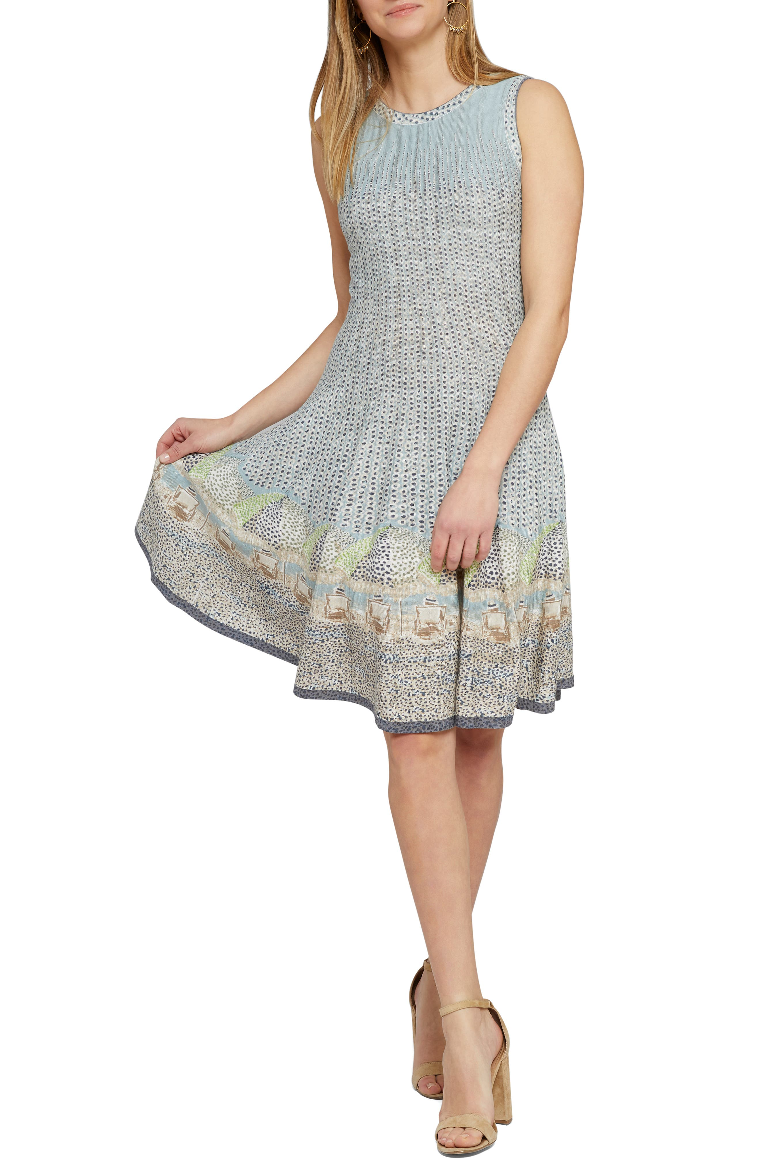 Nic+Zoe Sunny Days Twirl Sweater Dress, Blue