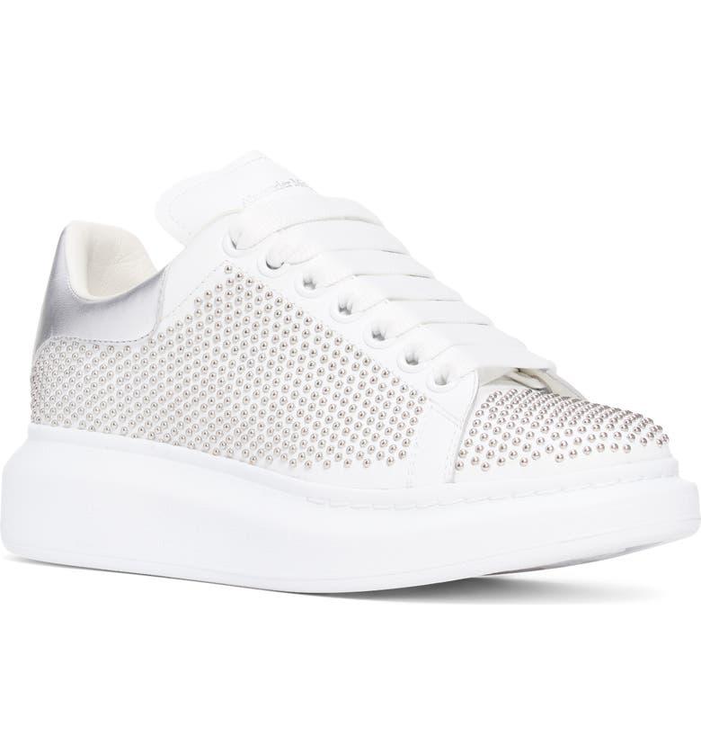 ALEXANDER MCQUEEN Studded Platform Sneaker, Main, color, WHITE/ SILVER