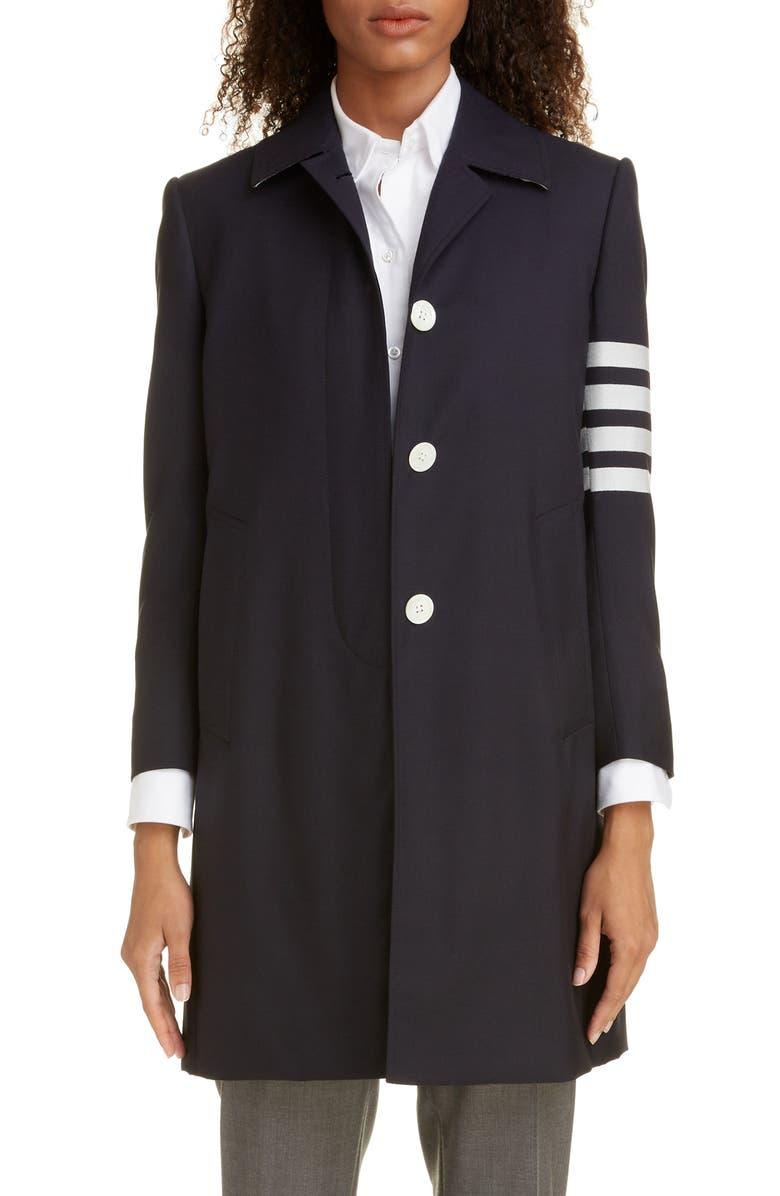THOM BROWNE 4-Bar Long Wool Jacket, Main, color, NAVY