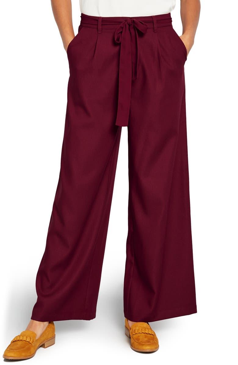 MODCLOTH The Savannah Wide Leg Pants, Main, color, BURGUNDY