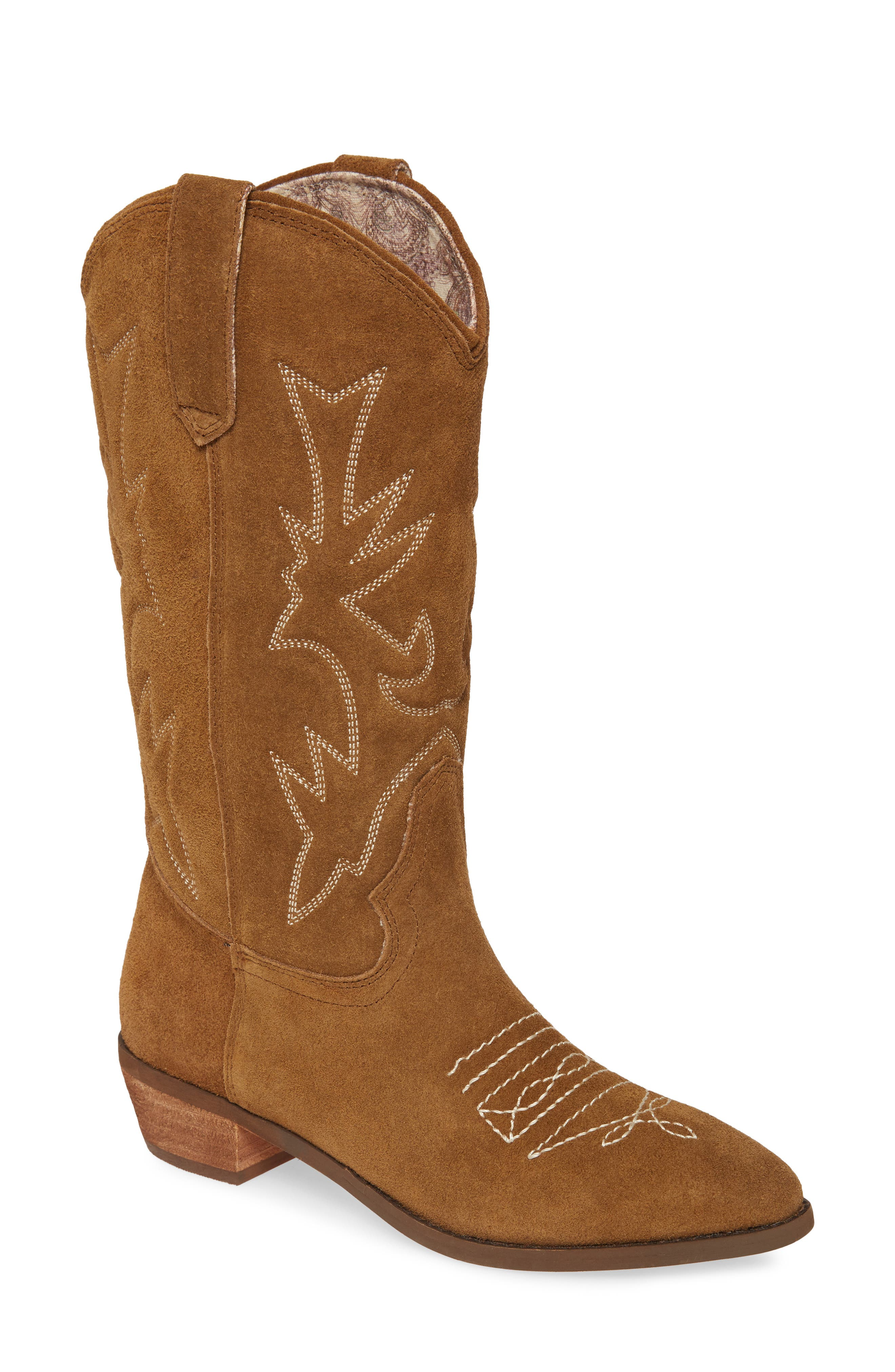 Traditional stitched designs and suede construction help this Western boot prove that there\\\'s no reason to mess with a classic. Style Name: Band Of Gypsies Cimarron Western Boot (Women). Style Number: 5894461. Available in stores.