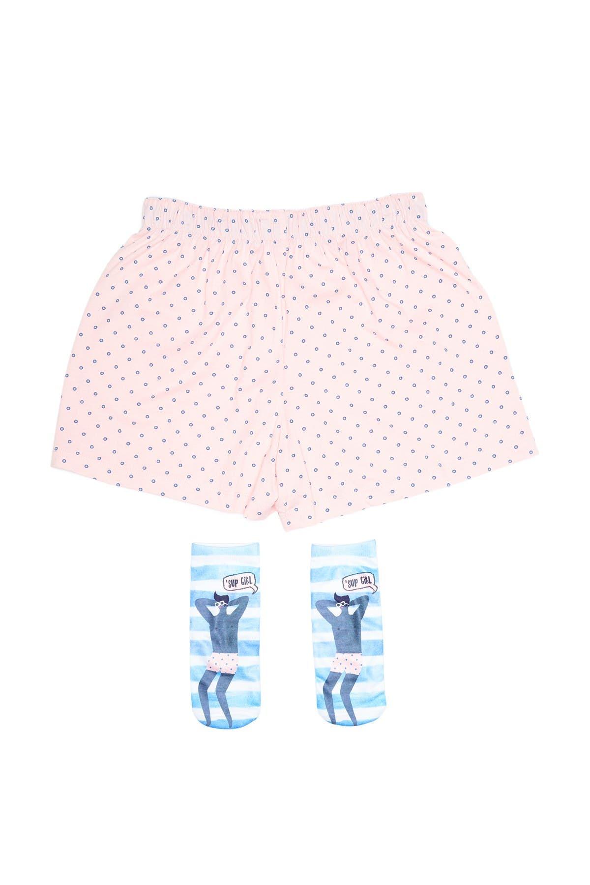 HUE Dotty Print Boxers & Socks Set