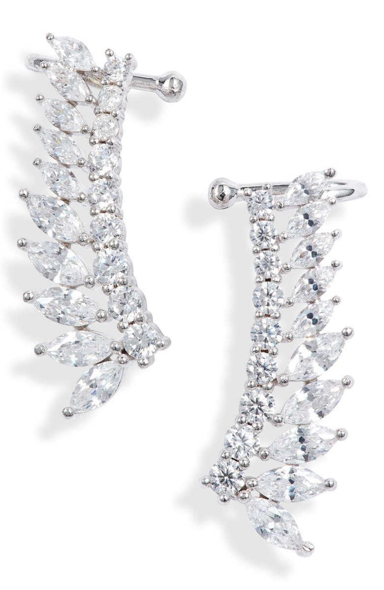 NORDSTROM Fanned Marquise Climber Cuff Earrings, Main, color, CLEAR- SILVER