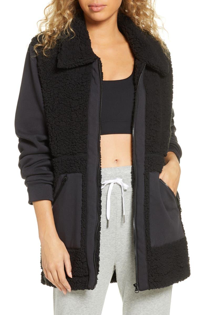 ZELLA Mix it Up Faux Shearling Jacket, Main, color, BLACK