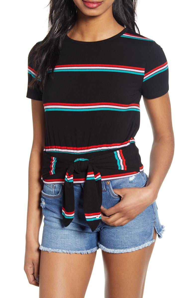 BP. Stripe Tie Detail Baby Tee, Main, color, BLACK DANI STRIPE