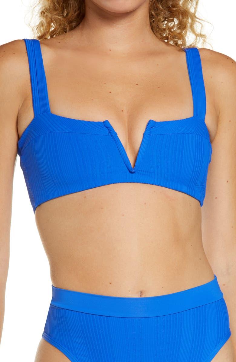 L SPACE Lee Lee Ribbed Bikini Top, Main, color, ROYAL
