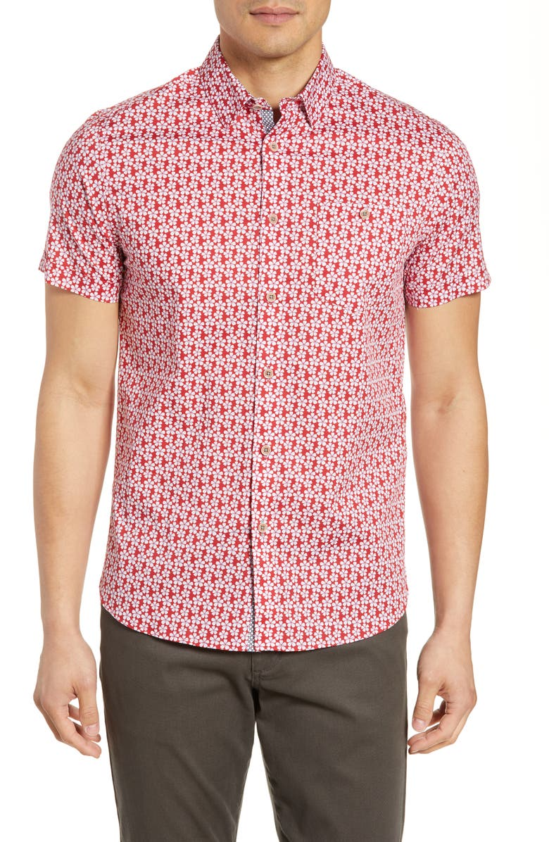 TED BAKER LONDON Slim Fit Floral Print Shirt, Main, color, RED