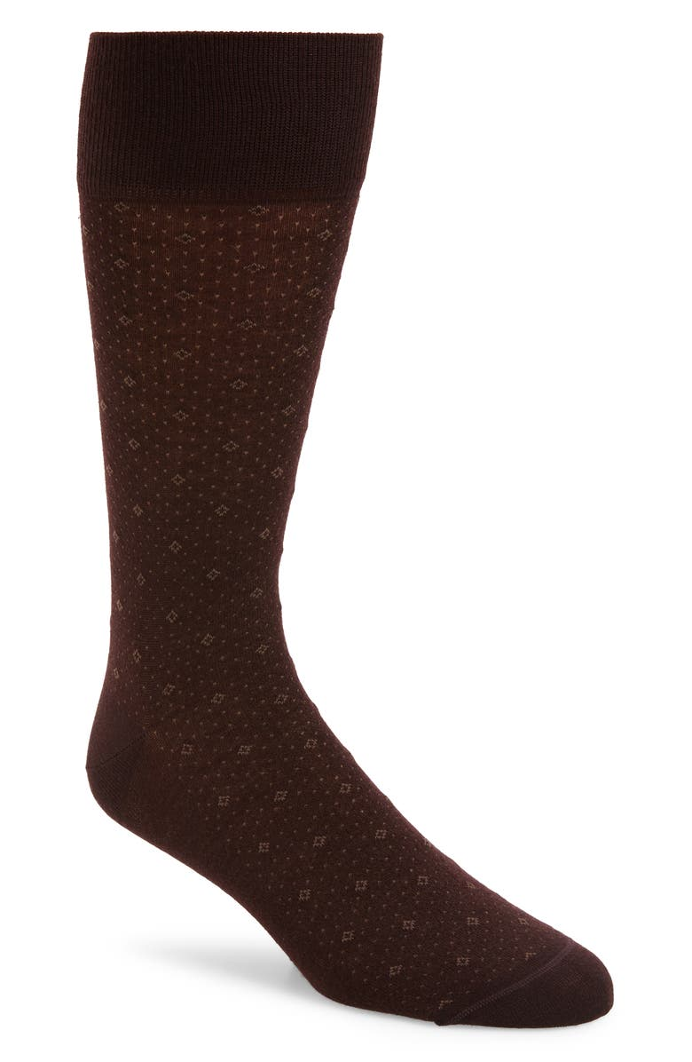 NORDSTROM SIGNATURE Diamond Socks, Main, color, BURGUNDY STEM