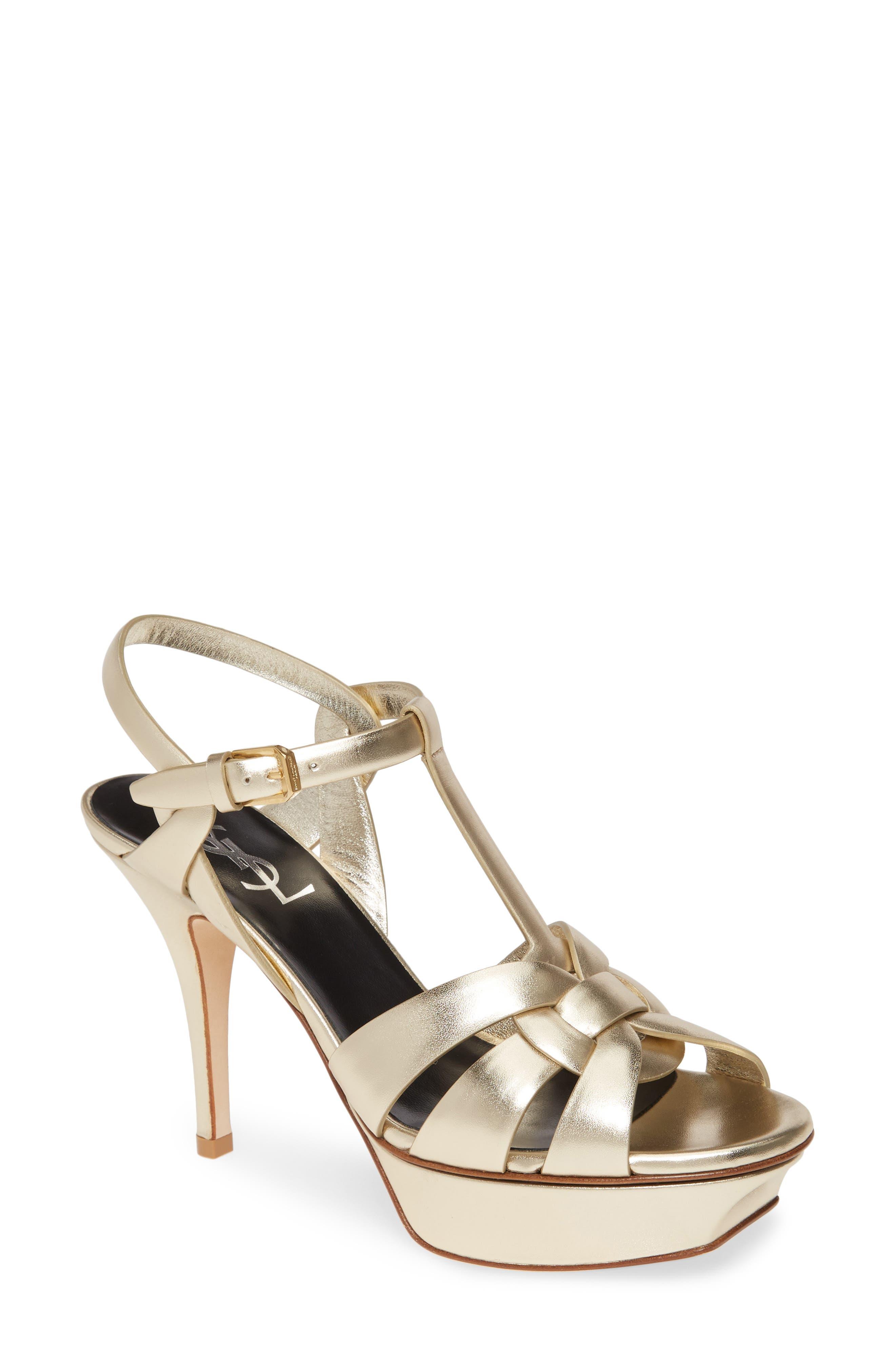 Saint Laurent Slippers Tribute Metallic Platform Sandal