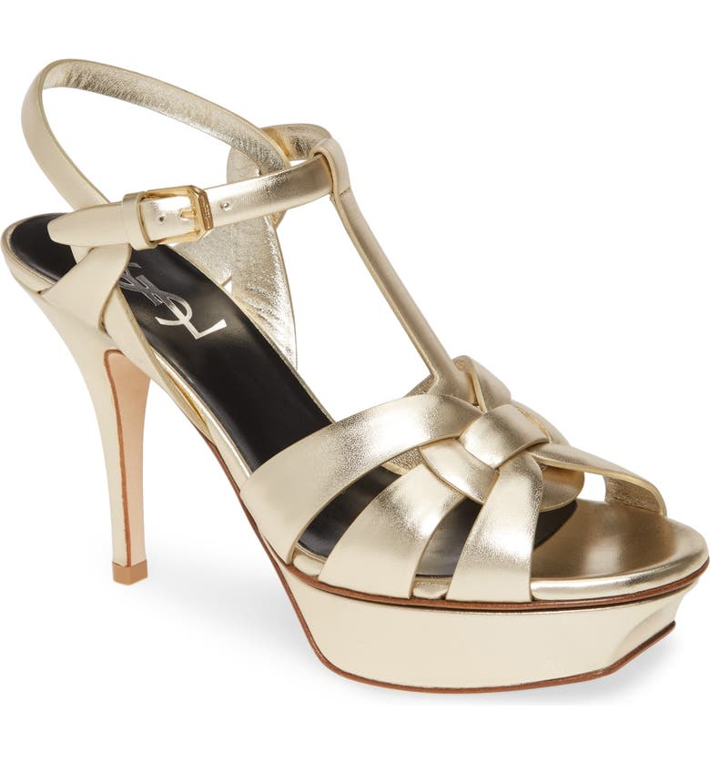 SAINT LAURENT Tribute Metallic Platform Sandal, Main, color, PLATINO