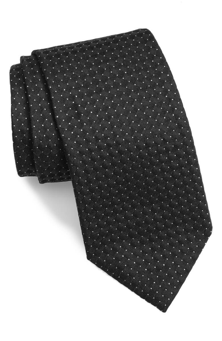 ETON Grid Silk Blend Tie, Main, color, BLACK