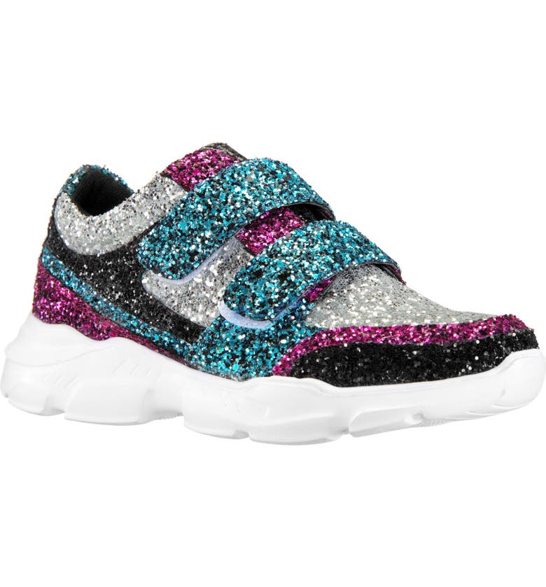 NINA Holleigh Glitter Sneaker, Main, color, BLACK MULTI CHUNKY GLITTER