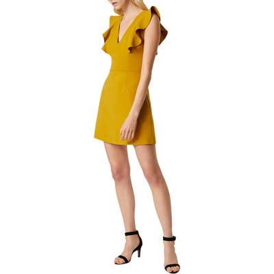 French Connection Whisper Ruffle Minidress, Yellow