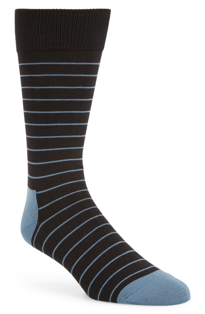 NORDSTROM MEN'S SHOP Ultra Soft Stripe Socks, Main, color, BLACK/ BLUE
