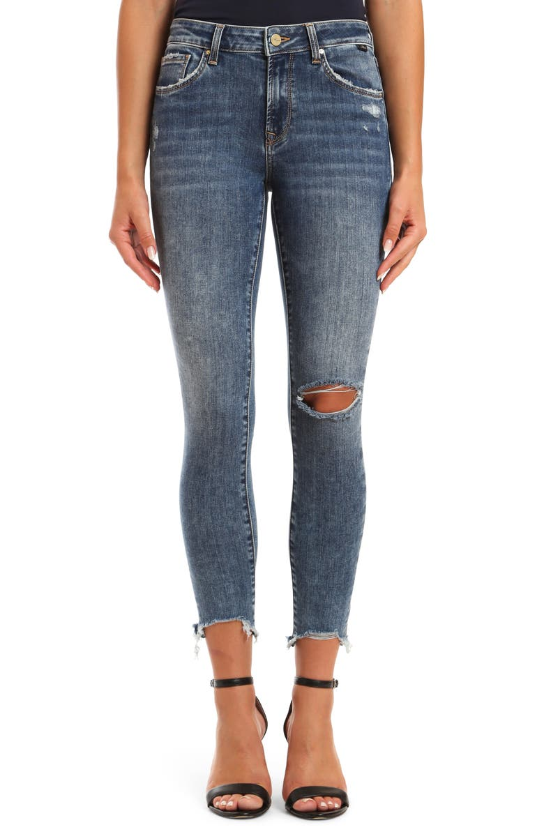 MAVI JEANS Alissa Ripped Destroyed Hem Skinny Jeans, Main, color, 420