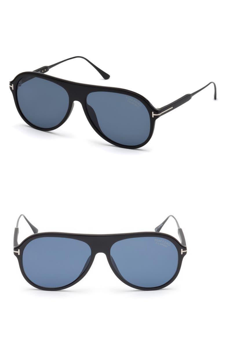 TOM FORD Nicholai-02 57mm Polarized Sunglasses, Main, color, MATTE BLACK / SMOKE POLARIZED