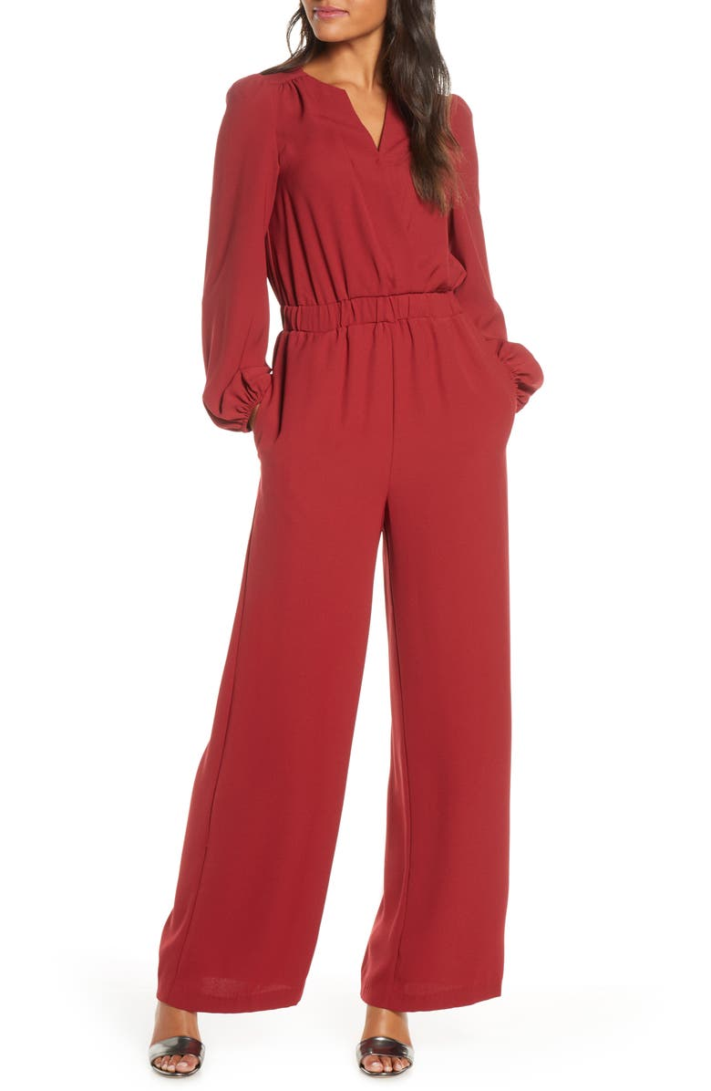 ELIZA J Long Sleeve Jumpsuit, Main, color, RED