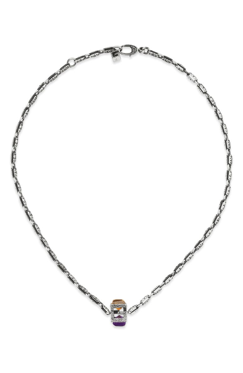 GUCCI G-Cube Stone Pendant Necklace, Main, color, STERLING SILVER/ VIOLET