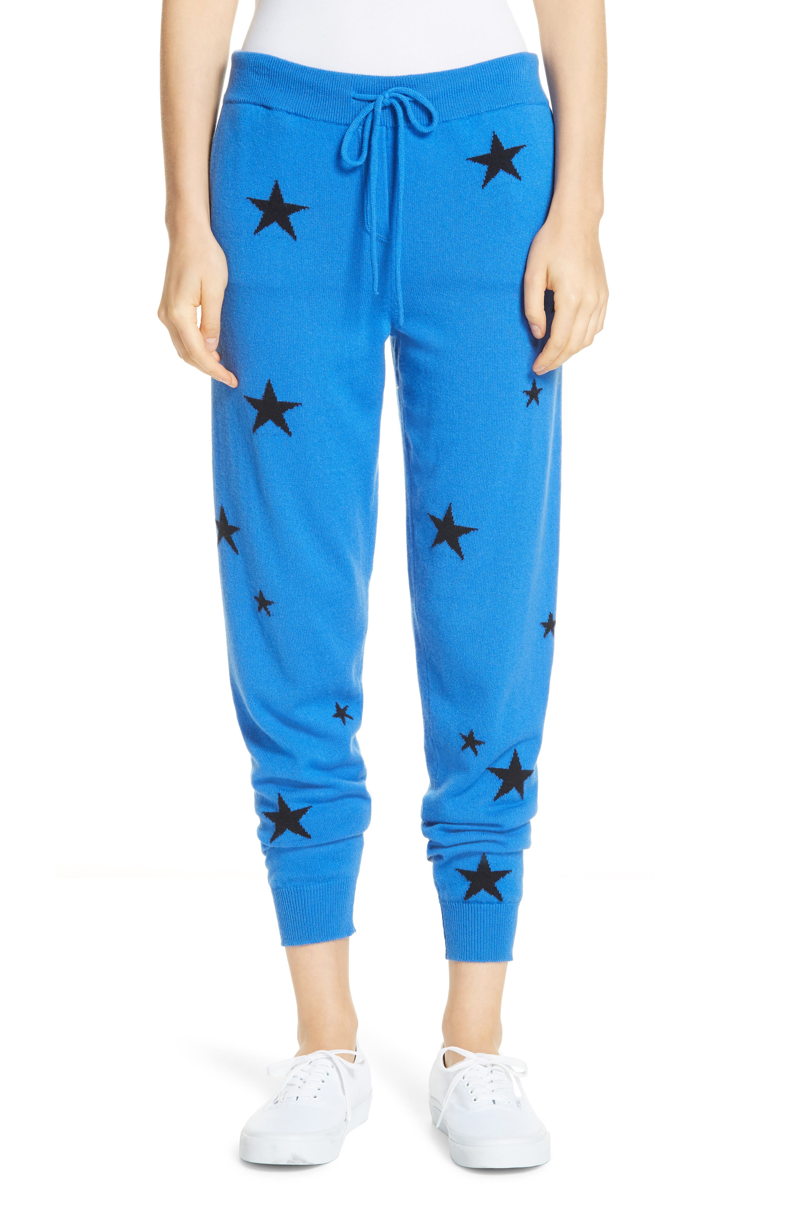 Chinti & Parker Star Cashmere Track Pants, Blue