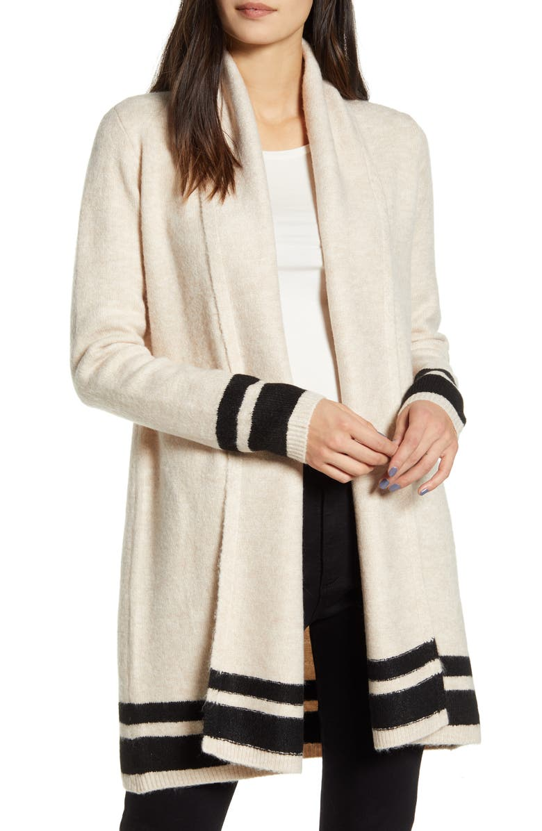 CUPCAKES AND CASHMERE Hank Stripe Shawl Collar Cardigan, Main, color, IVORY