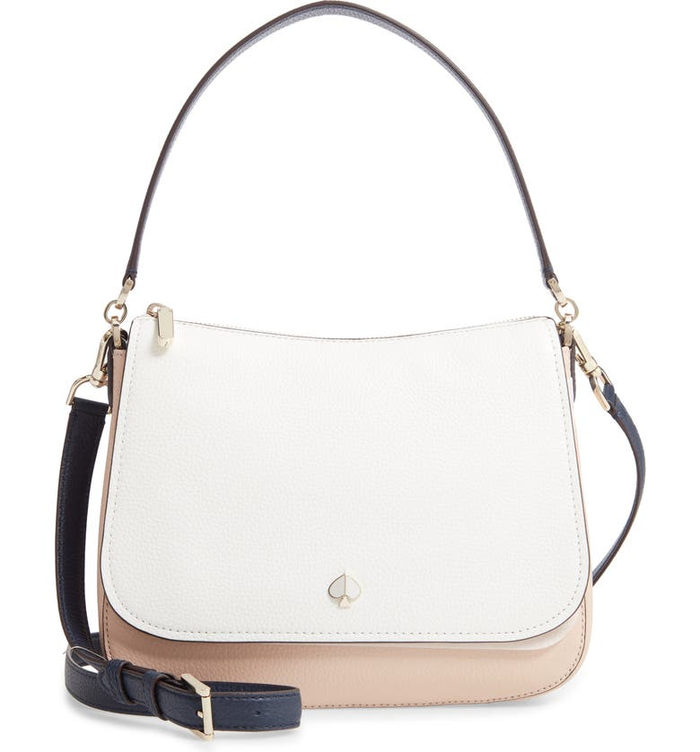 KATE SPADE NEW YORK medium polly leather bag, Main, color, BLUSH MULTI