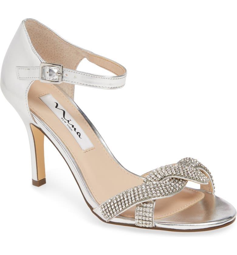 NINA Valency Crystal Embellished Sandal, Main, color, SILVER FABRIC