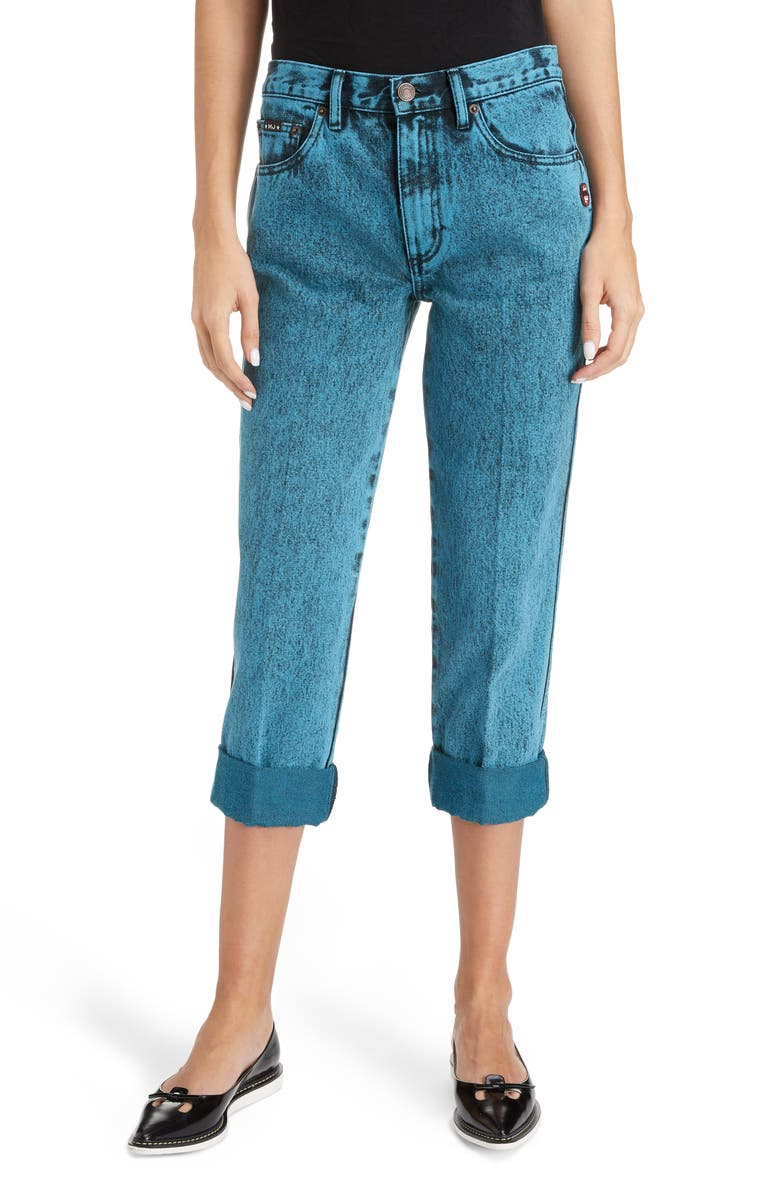 MARC JACOBS The Turn Up Overdye Jeans, Main, color, BLUE