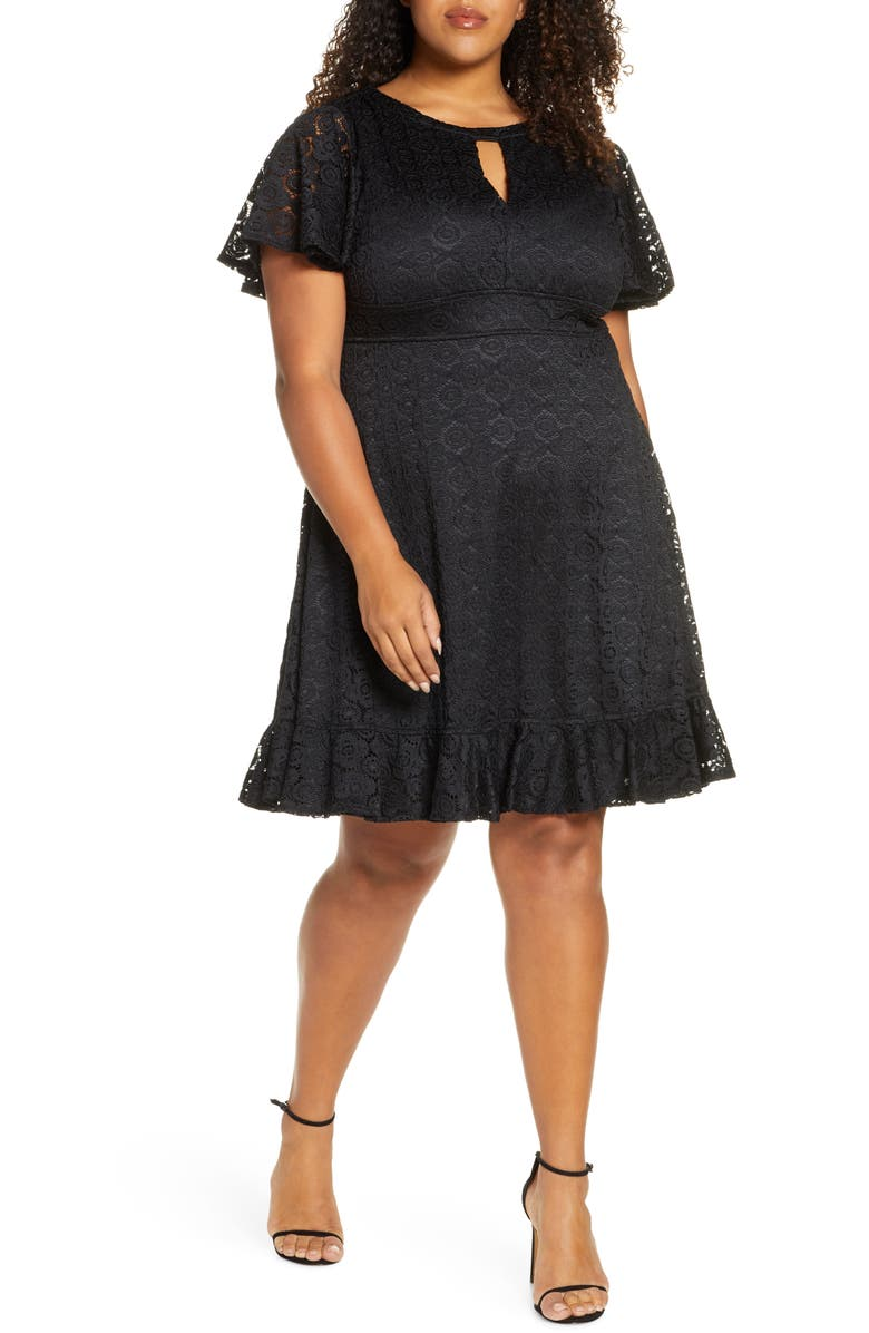 KIYONNA Middleton Ruffle Hem Lace Dress, Main, color, ONYX