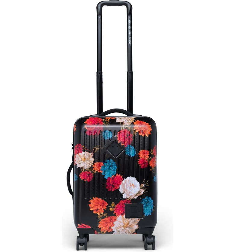 HERSCHEL SUPPLY CO. Small Trade 23-Inch Rolling Suitcase, Main, color, VINTAGE FLORAL BLACK