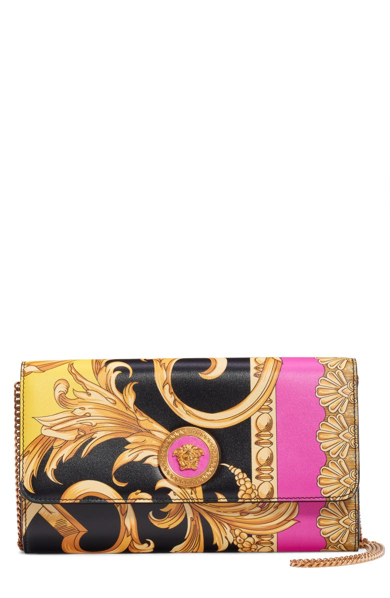 VERSACE FIRST LINE Barocco Leather Wallet on a Chain, Main, color, BLACK MULTI/ TRIBUTE GOLD