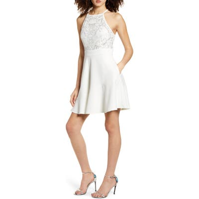 Speechless Beaded Skater Dress, White