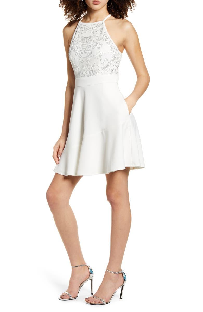 SPEECHLESS Beaded Skater Dress, Main, color, WHITE SILVER