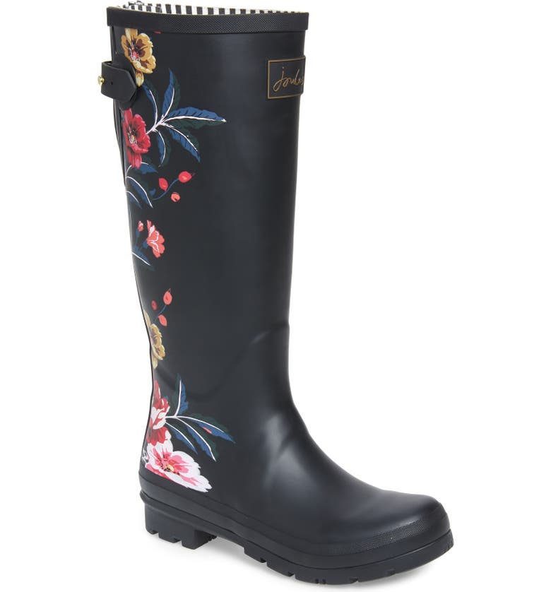 JOULES 'Welly'PrintRain Boot, Main, color, BLACK BORDER FLORAL