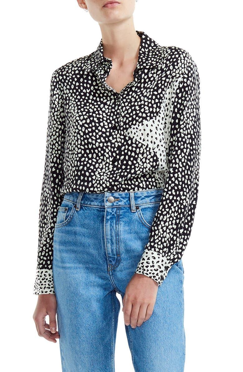 MAJE Cilia Print Shirt, Main, color, 001
