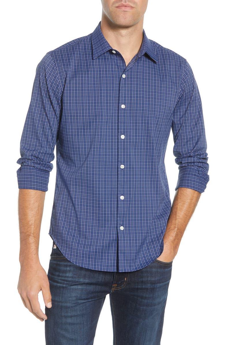 BONOBOS Slim Fit Plaid Performance Sport Shirt, Main, color, WELLS PLAID-FRESH AIR
