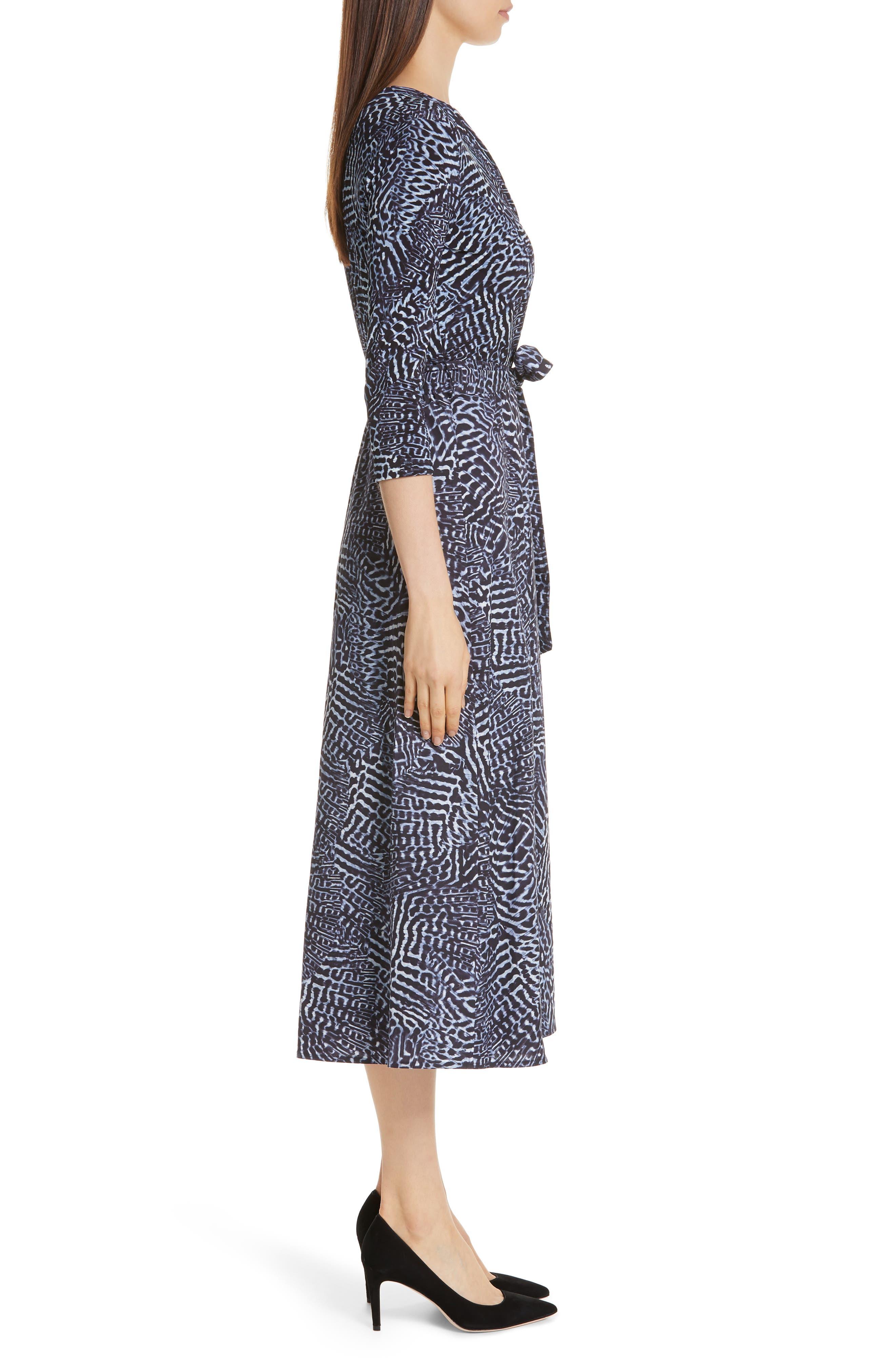 ,                             Acume Print Faux Wrap Dress,                             Alternate thumbnail 4, color,                             CORNFLOWER BLUE