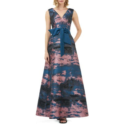 Kay Unger Valentin Fit & Flare Evening Gown, Purple