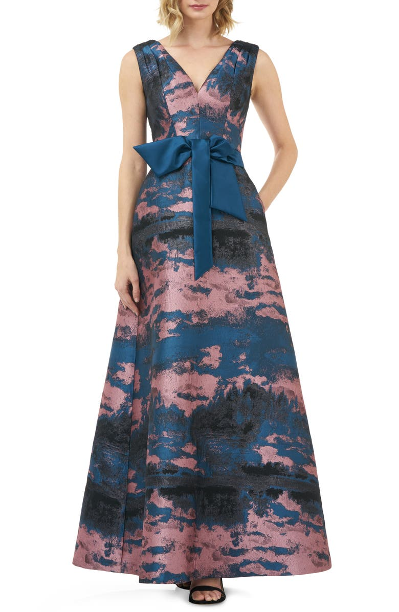KAY UNGER Valentin Fit & Flare Evening Gown, Main, color, MAUVE/ NAVY
