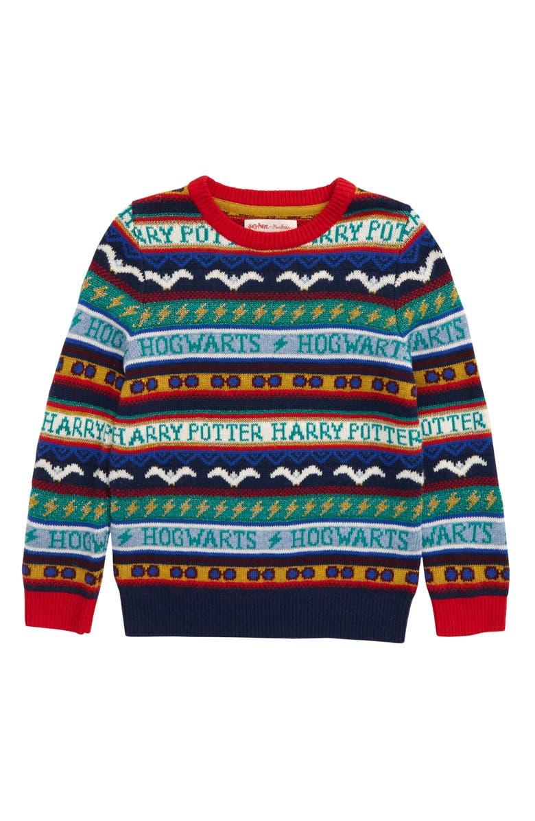 MINI BODEN Harry Potter Fair Isle Sweater, Main, color, COLLEGE BLUE