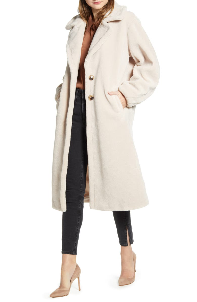 SOMETHING NAVY Faux Shearling Teddy Coat, Main, color, BEIGE CEMENT