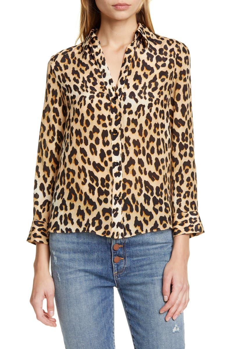 ALICE + OLIVIA Eloise Leopard Print Silk Blouse, Main, color, SPOTTED LEOPARD MULTI