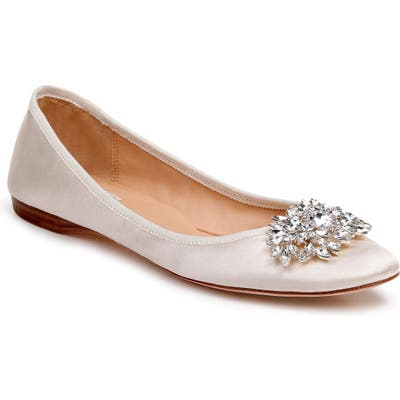 Badgley Mischka Pippa Crystal Foldable Flat, White