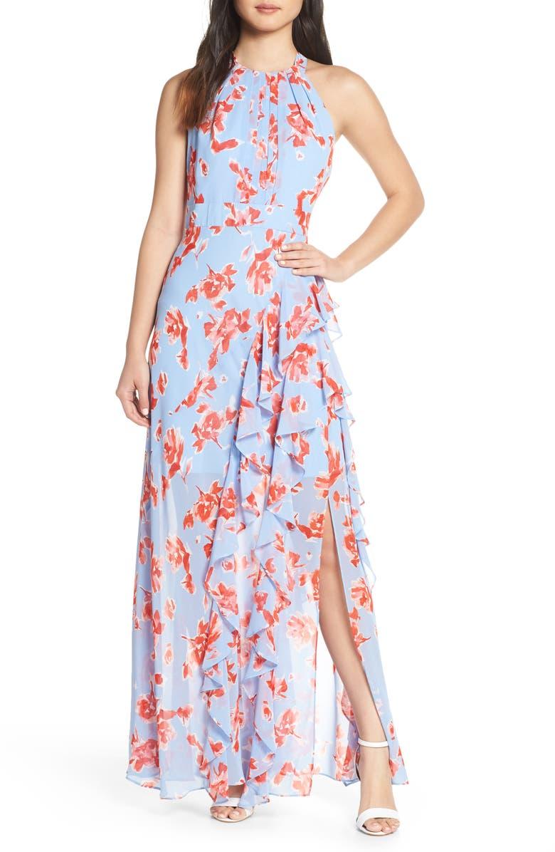 d0cd0aed Eliza J Ruffle Halter Maxi Dress | Nordstrom