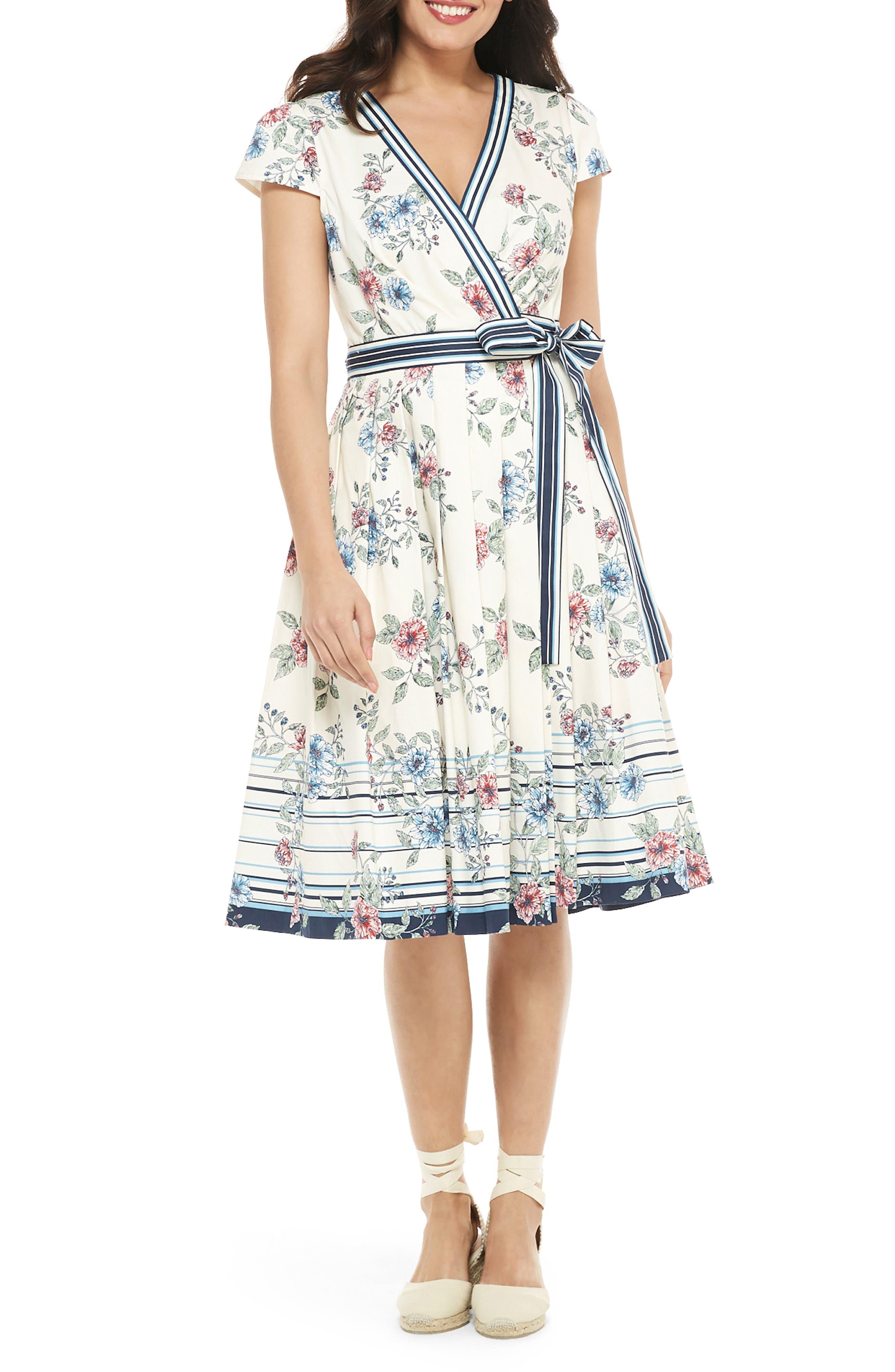 Gal Meets Glam Collection Teresa Floral & Stripe Cotton Wrap Dress, Blue