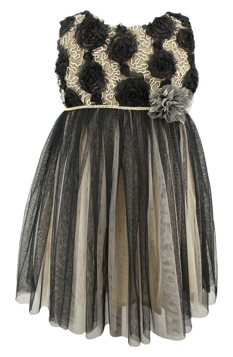 POPATU Rosette Tulle Dress, Main, color, BLACK