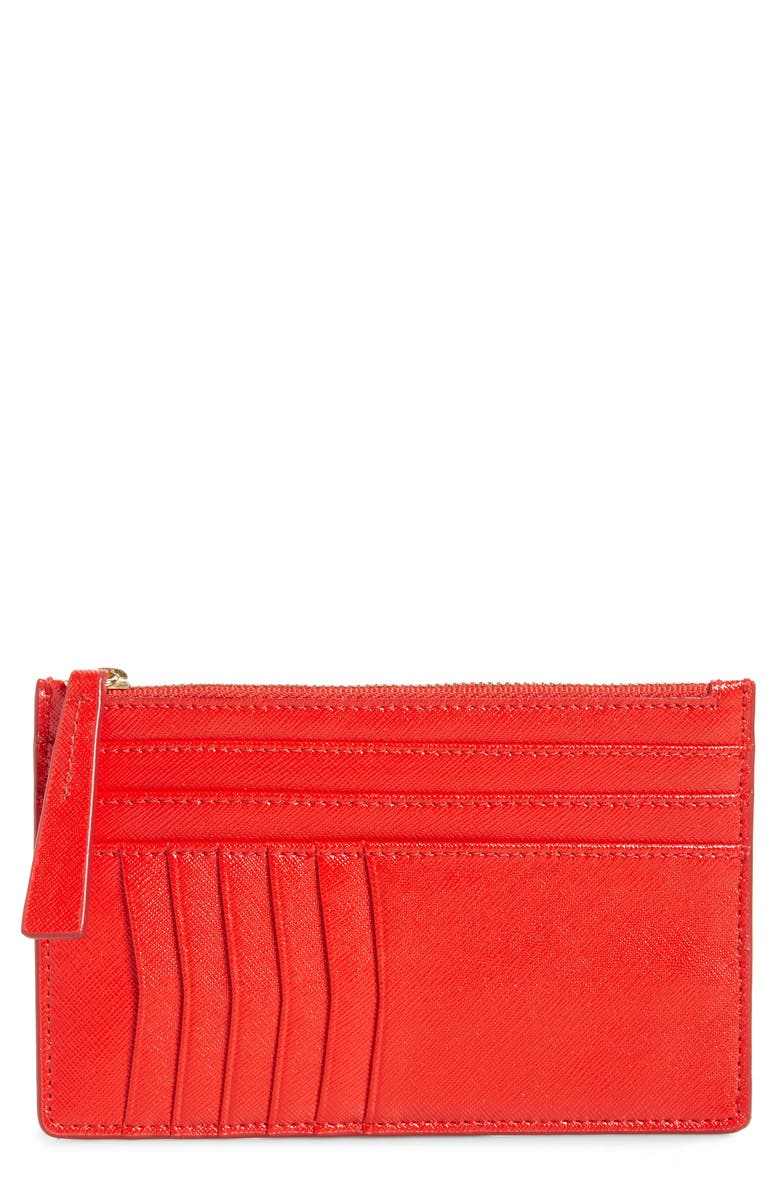 NORDSTROM Margaux Leather Passport & Card Case, Main, color, RED BLOOM