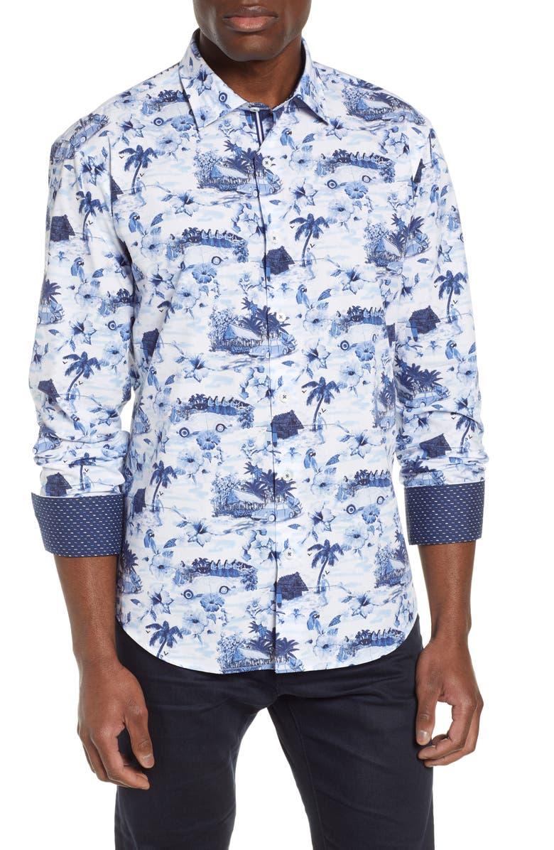BUGATCHI Shaped Fit Tropical Print Shirt, Main, color, PERIWINKLE